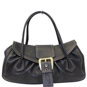 Celine Buckle Leather Satchel Bag Black
